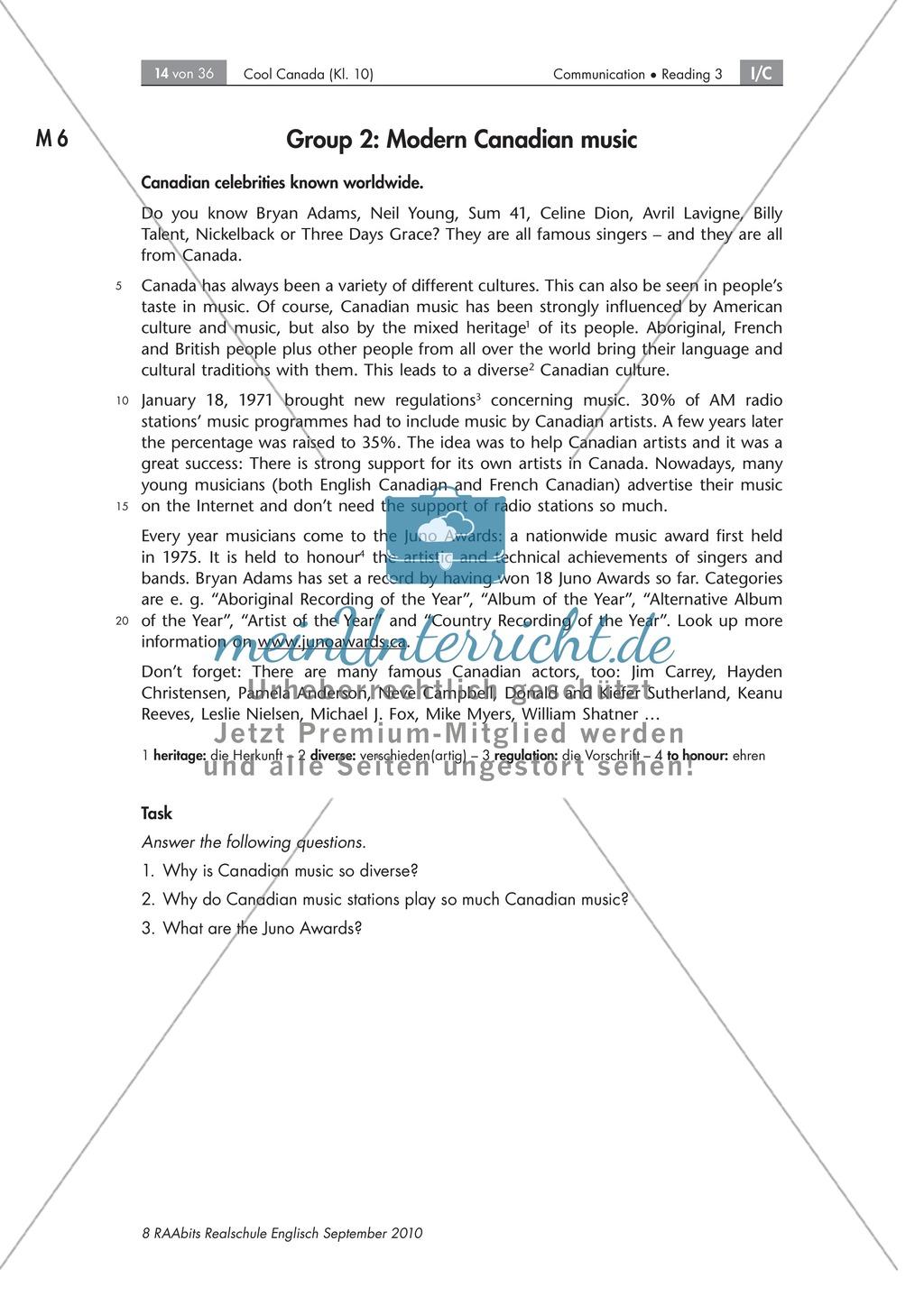 Textarbeit an Sachtexten über Kanada: Übungen zum Textverständnis + Lösungen Preview 7