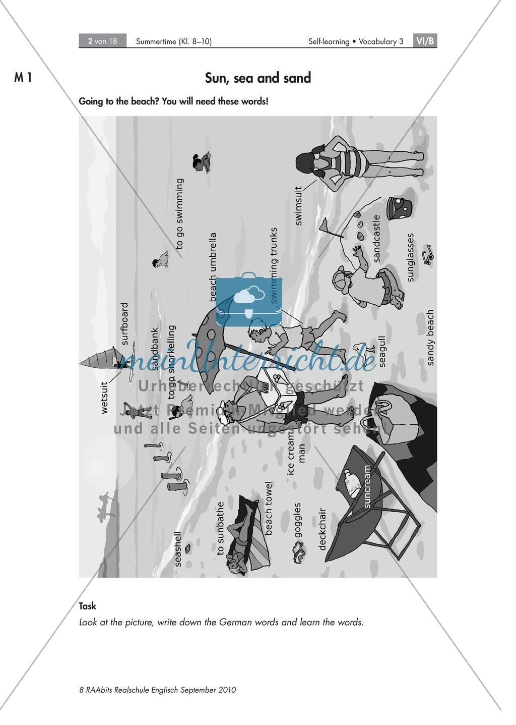 Summertime: Wortschatz zum Thema Sommer und Strand. Enthält eine Grafik und didaktische Erläuterungen. Preview 1