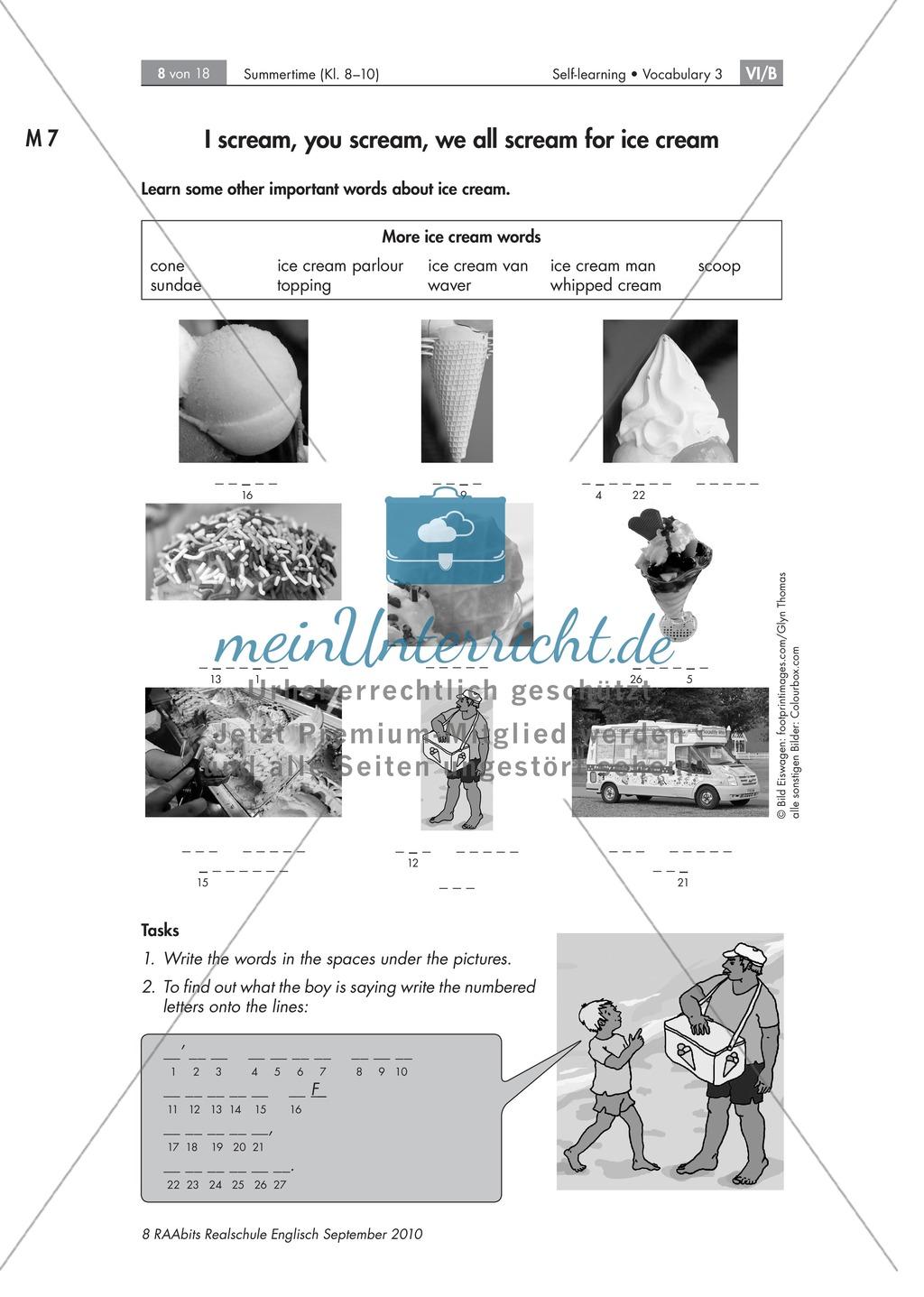 Summertime: Eissorten und weitere Eis-Vokabeln rund ums Thema Sommer, Strand und Eis. Mit Bildern, Sudoku, Lösungen dazu und didaktischen Erläuterungen. Preview 2