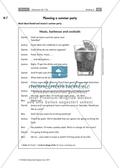 Englisch, Kompetenzen, Themen, Kommunikative Fertigkeiten, Alltag, Lesen / reading, summer, party, future tenses