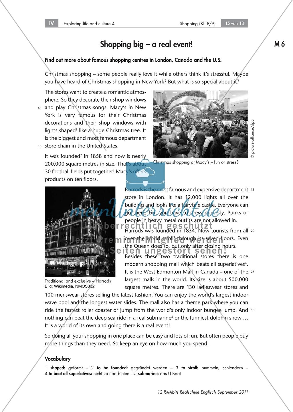 Einkaufsgewohnheiten in Großbritannien, Kanada und den USA kennenlernen : Übungen zur Lesekompetenz und Textverständnis + Kopiervorlagen Preview 9