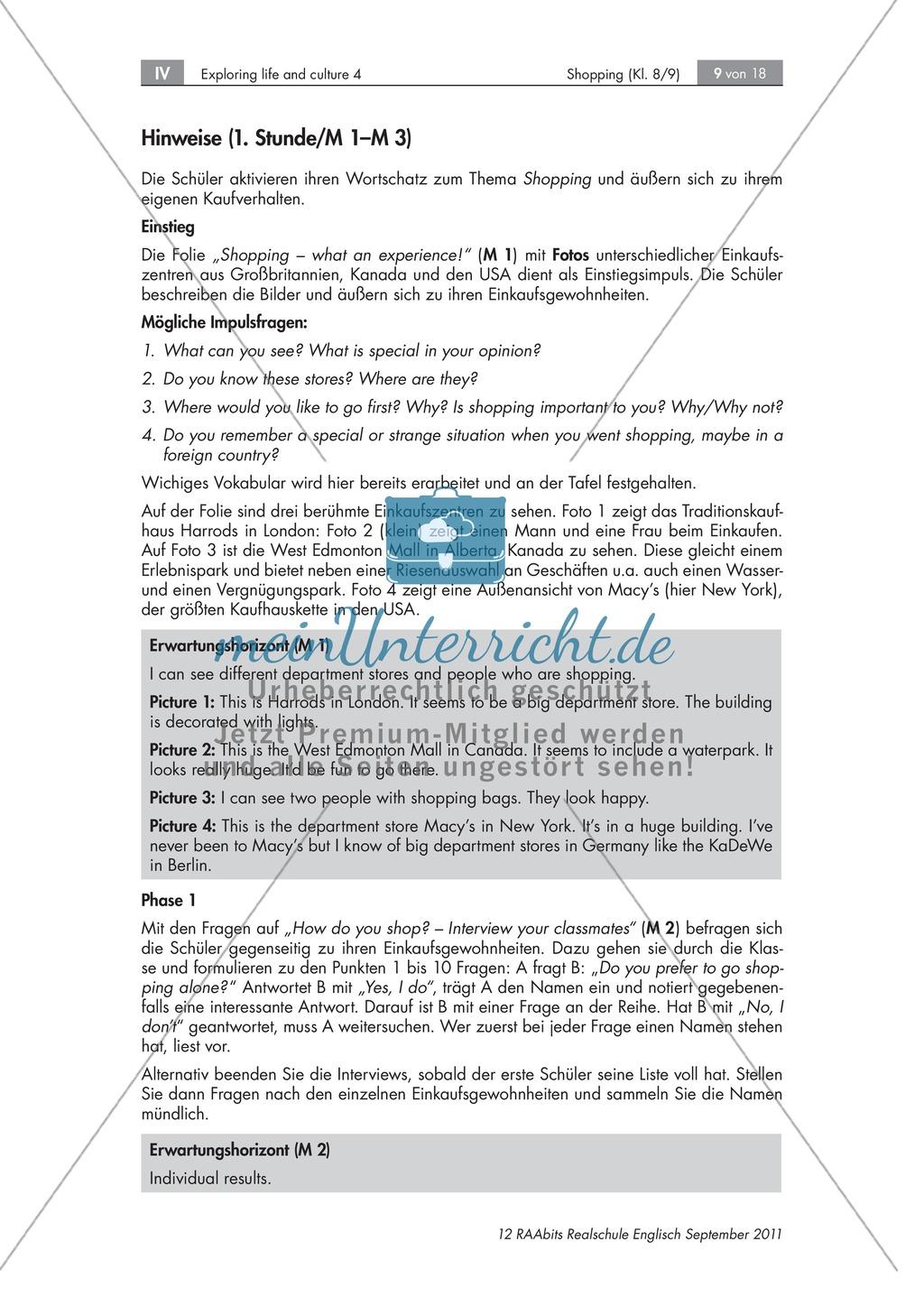 Einkaufsgewohnheiten in Großbritannien, Kanada und den USA kennenlernen : Übungen zur Lesekompetenz und Textverständnis + Kopiervorlagen Preview 3