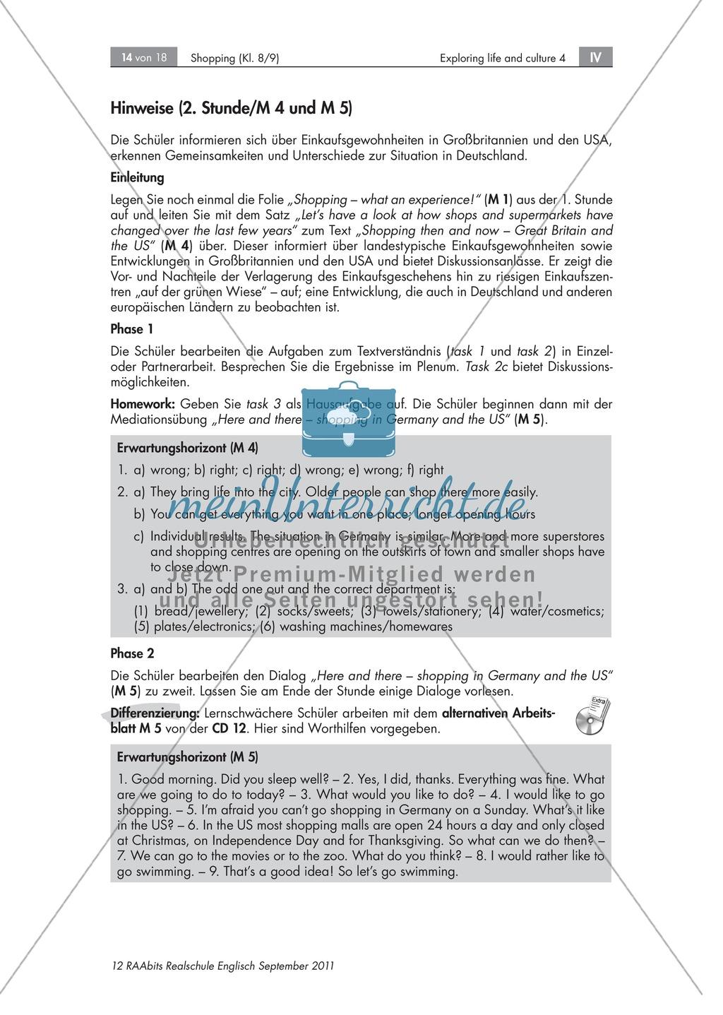 Einkaufsgewohnheiten in Großbritannien, Kanada und den USA kennenlernen : Übungen zur Lesekompetenz und Textverständnis + Kopiervorlagen Preview 8