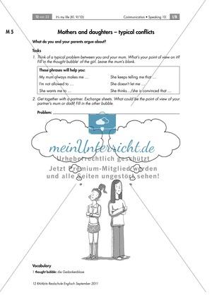 Unterrichtsstunde zum Erarbeiten von typischen Mutter-Tochter- sowie Vater-Sohn-Konflikten und Redemitteln für ein Konfliktlösungsgespräch