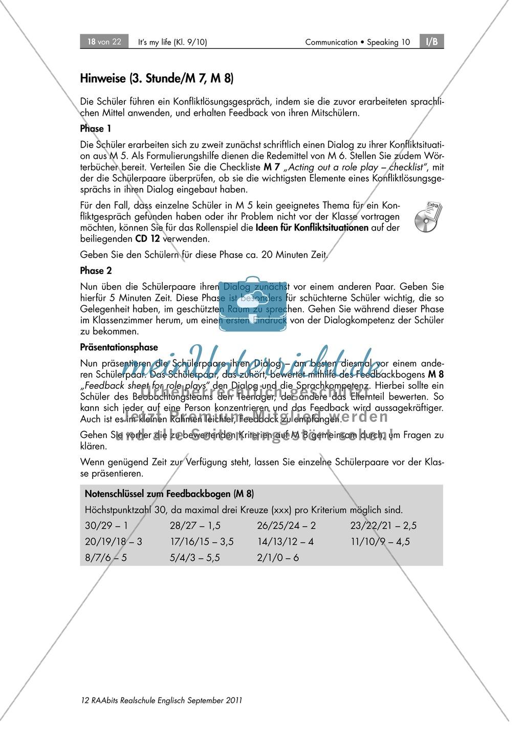 Rollenspiel zum Thema Konfliktlösungsgespräch zwischen Jugendlichem und Eltern(teil), enthält Checklist für das Rollenspiel und Feedback Sheets Preview 2