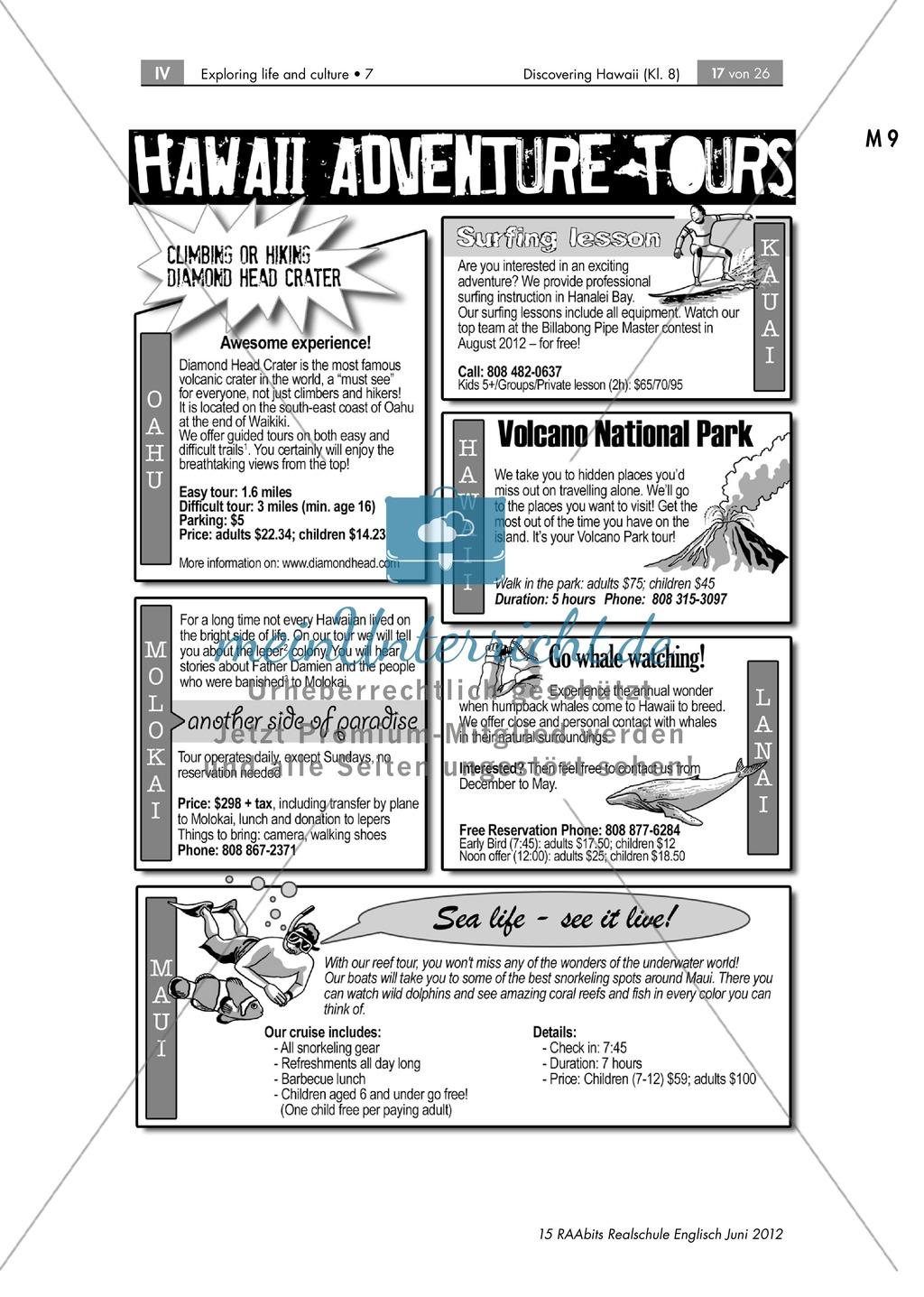 Landeskunde Hawaii anhand eines Gruppenpuzzles: Übungen + Lösungen Preview 11