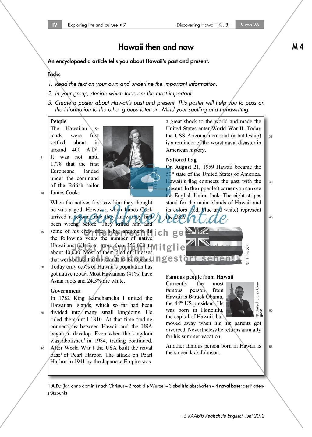 Landeskunde Hawaii anhand eines Gruppenpuzzles: Übungen + Lösungen Preview 3