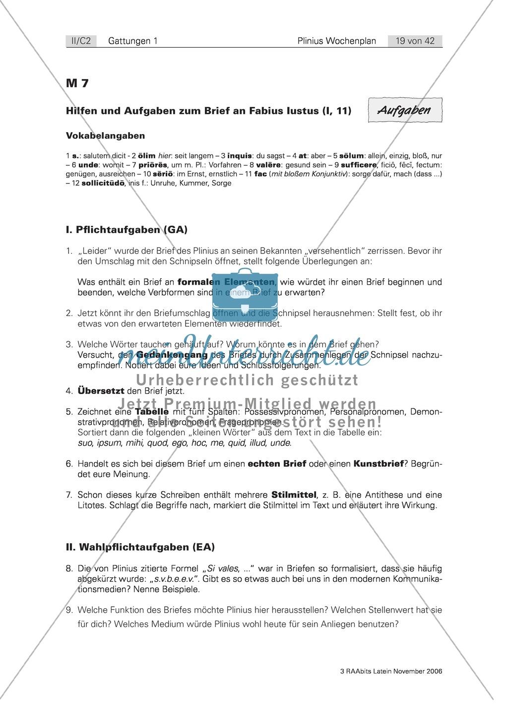 Plinius Brief An Fabius Iustus Erkennen Von Formalen Elementen