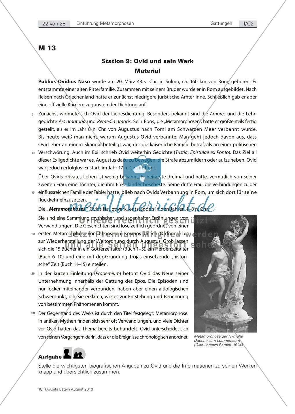 Ovid und sein Werk: Informationstext zur Biographie Ovids und der Entstehungsgeschichte seiner Werke. Mit Material für Zusatzaufgabe und Lösung. Preview 0