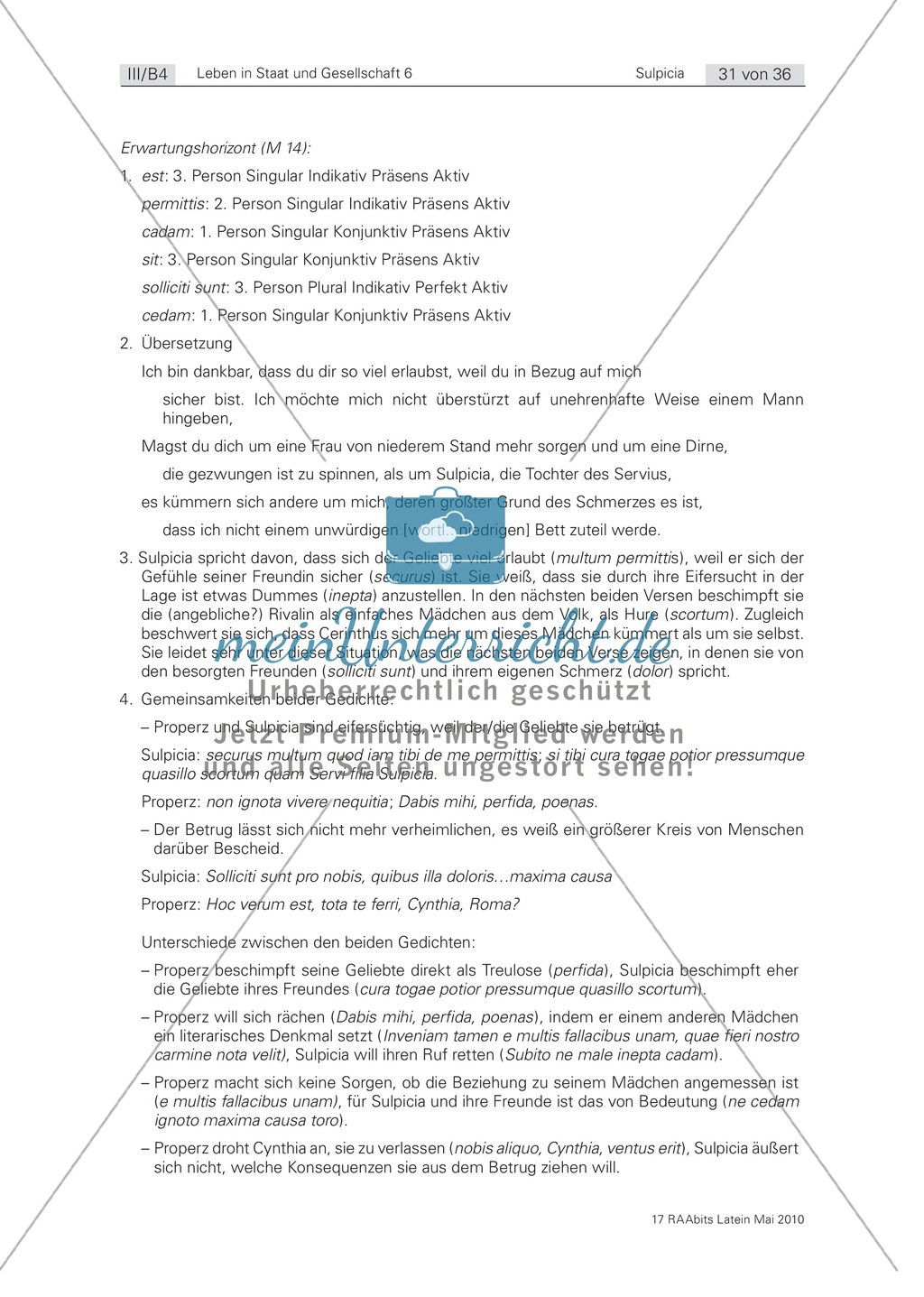 Eifersucht: Gedichte von Sulpicia und Properz im Vergleich. Mit didaktischen Anmerkungen. Preview 2