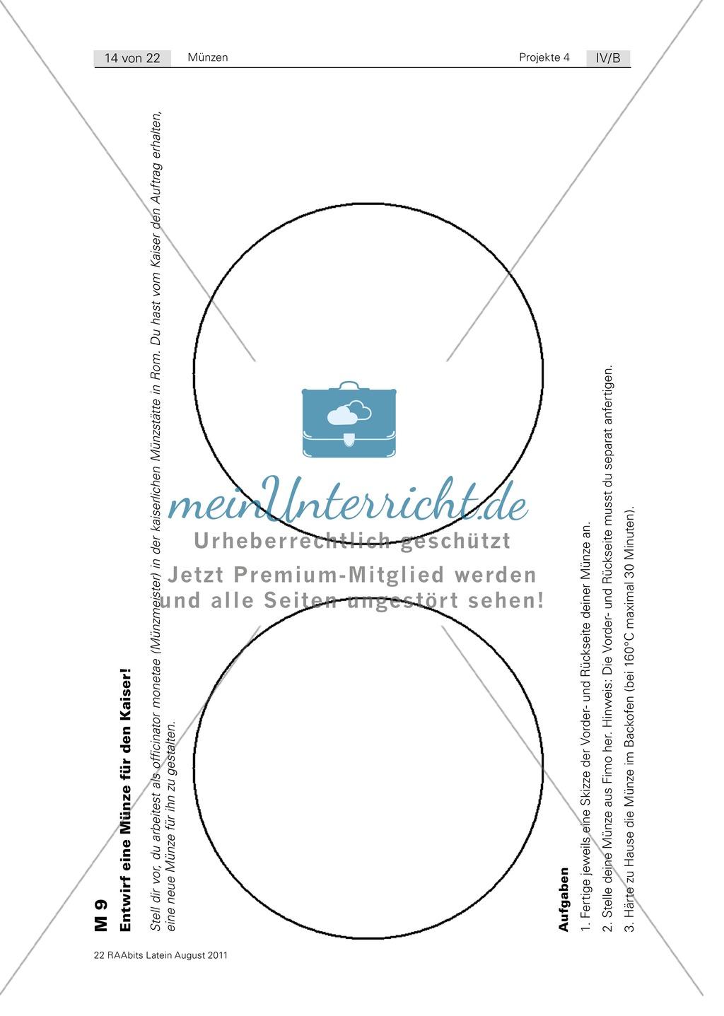 Gestaltung einer eigenen römischen Münze sowie Euro-Münze und römische Münze im Vergleich. Mit Informationstext zur Münzherstellung, Bildern und didaktischen Anmerkungen. Preview 1