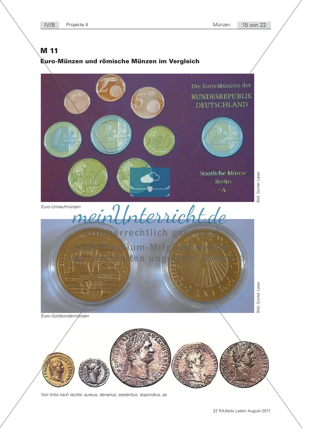 Gestaltung einer eigenen römischen Münze sowie Euro-Münze und römische Münze im Vergleich. Mit Informationstext zur Münzherstellung, Bildern und didaktischen Anmerkungen. Preview 2