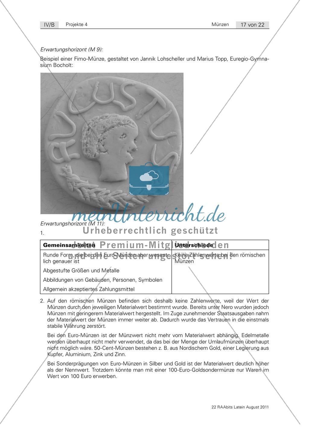 Gestaltung einer eigenen römischen Münze sowie Euro-Münze und römische Münze im Vergleich. Mit Informationstext zur Münzherstellung, Bildern und didaktischen Anmerkungen. Preview 5