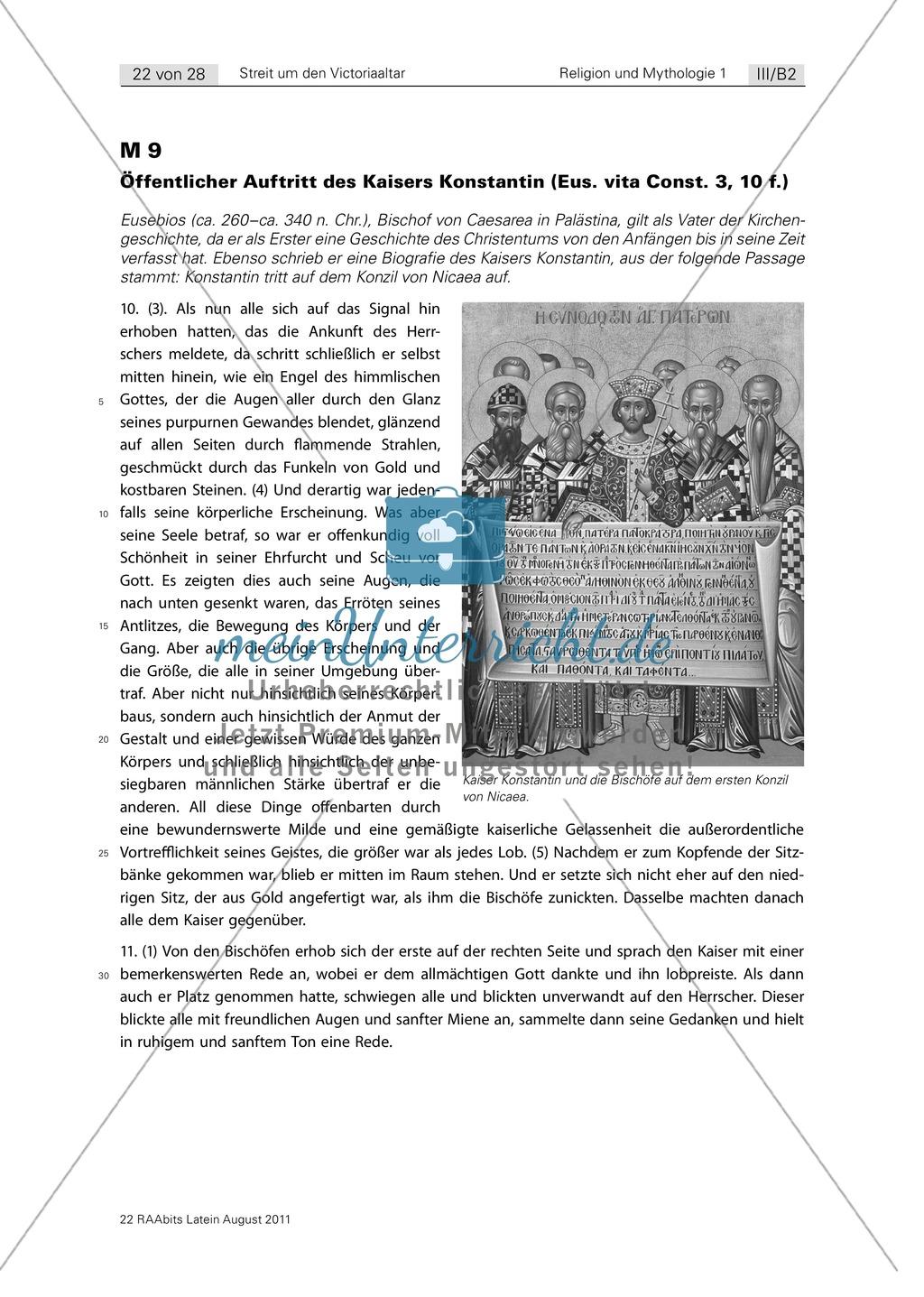 Die Protagonisten im Streit um den Victoriaaltar: Die Argumente des Symachus, Ambrosius und spätantiker Kaiser im Vergleich. Eine Gruppenarbeit mit Erarbeitung, Debatte und Zusammenfassung der tatsächlichen Ereignisse. Mit didaktischen Anmerkungen. Preview 10