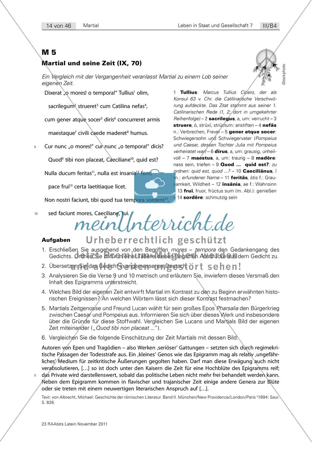 Martial: Ein Dichter und seine Zeit. Mit Wortschatzübung, Biographie sowie Analyse einiger Epigramme mit biographischem Bezug. Enthält didaktische Anmerkungen und Erwartungshorizont.. Preview 5