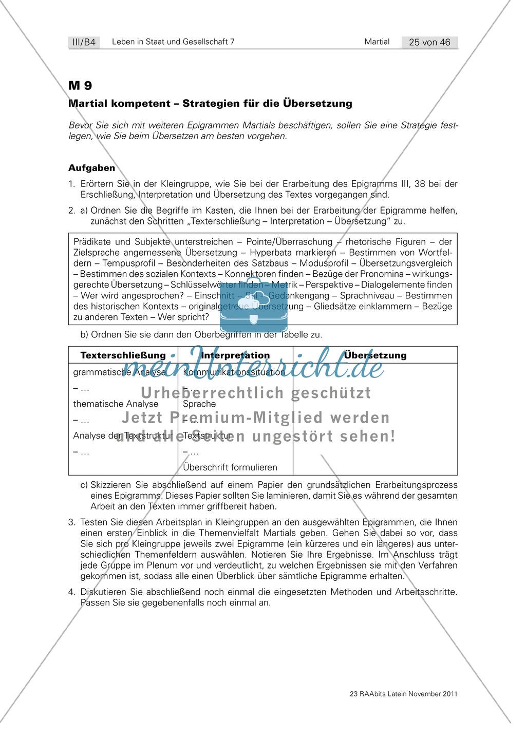 übersetzungsstrategien Zu Martial Epigrammen Erarbeitung Sowie