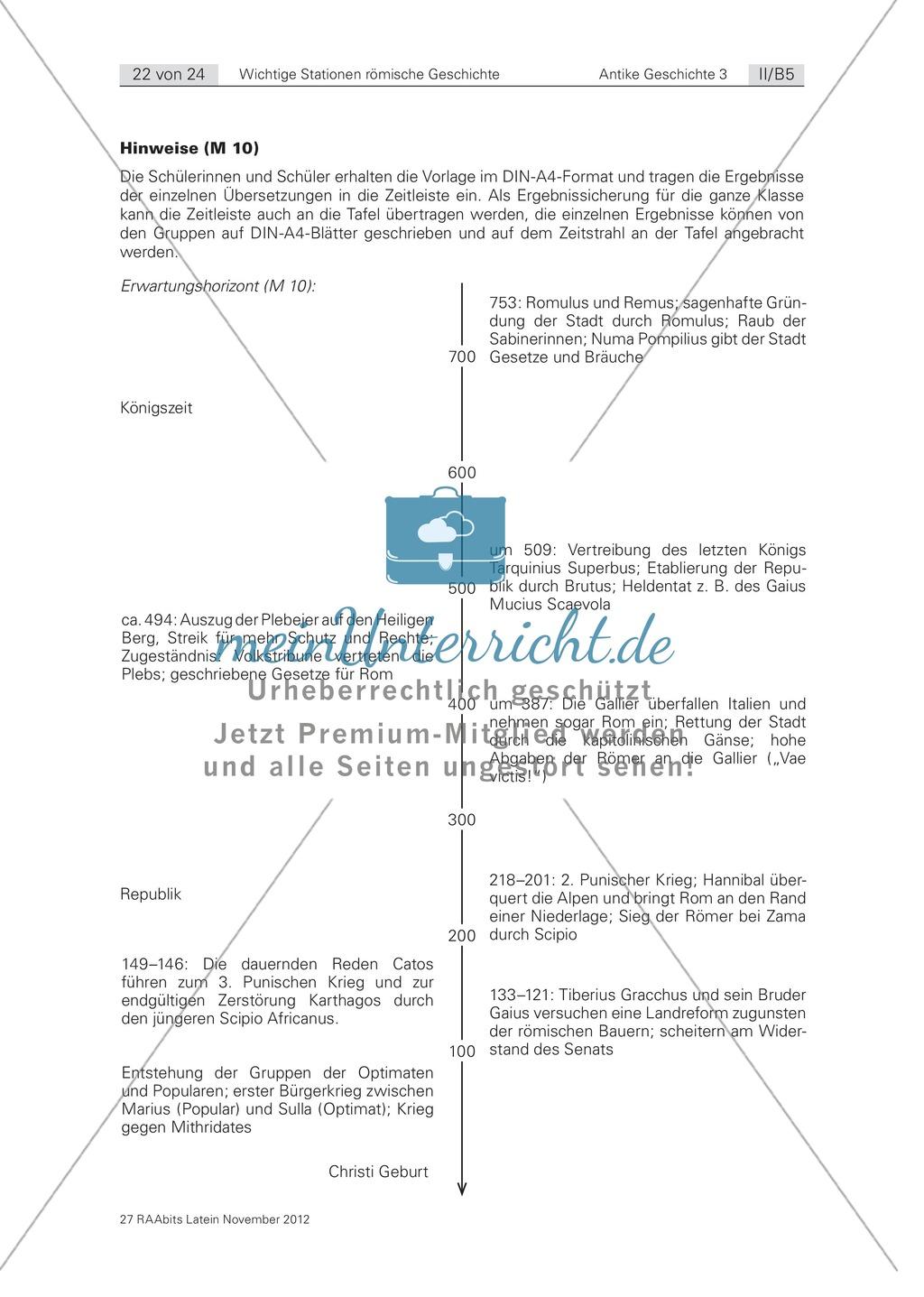 Lernwortschatz und Zeitstrahl zu wichtigen Ereignissen der römischen Geschichte: Arbeitsblätter und Erläuterungen Preview 2
