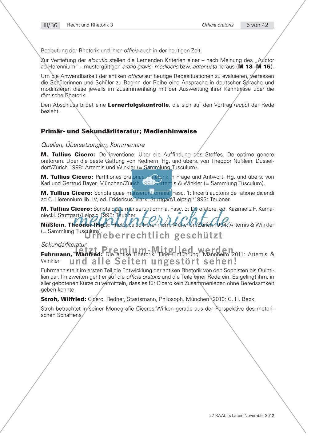 Primär- und Sekundärliteratur sowie Medienhinweise zur Theorie der römischen Rhetorik Preview 0