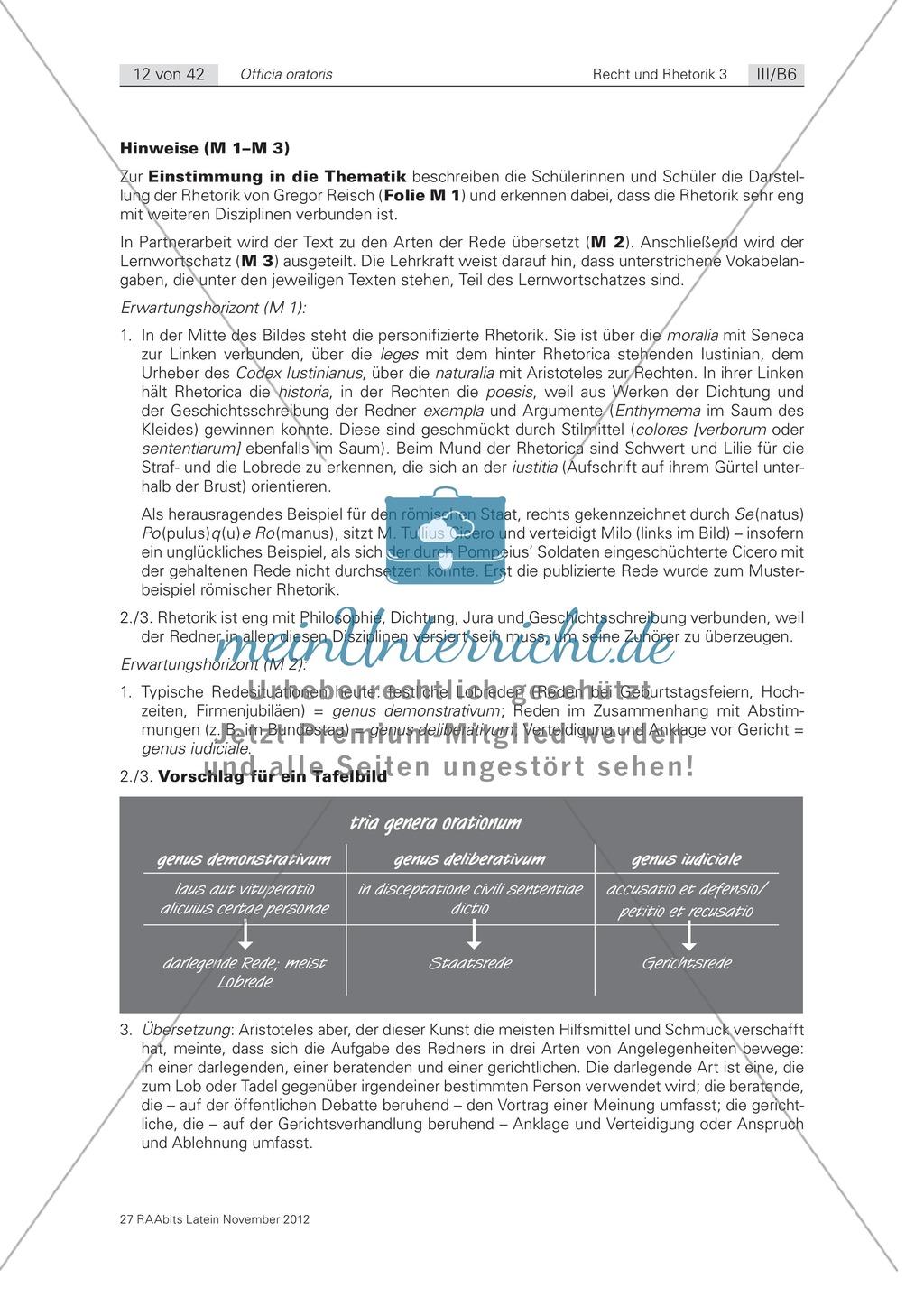 Die Arten der Rede - Einstieg in die Theorie der römischen Rhetorik: Arbeitsblätter und Erläuterungen Preview 3