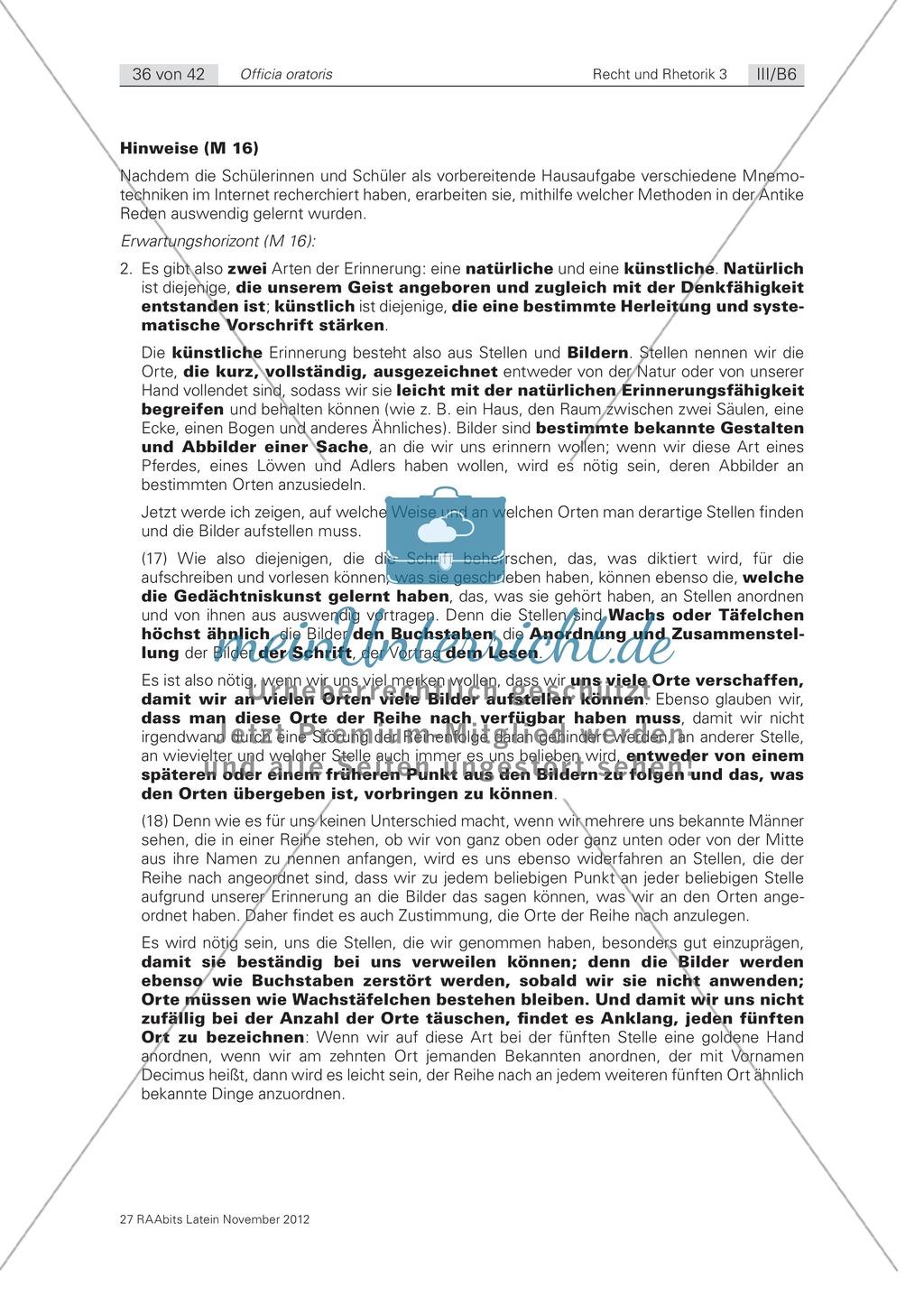 Zum Aufbau von Reden: die 'memoria': Arbeitsblätter und Erläuterungen Preview 2