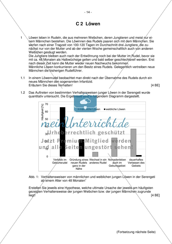 Abituraufgaben Bayern 2012: Aufgaben zu Ökologie, Genetik, Verhalten und Evolution. Mit Arbeitsmaterial. Preview 12
