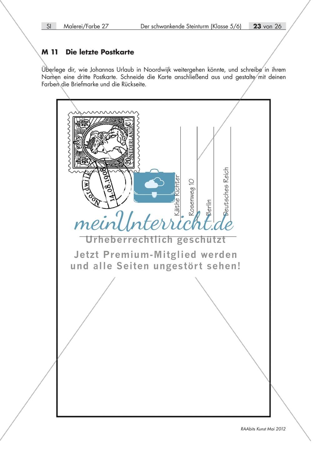 Unterrichtseinheit zum Thema Malerei und Farbe: Gestaltung einer Postkarte als Abschluss der Unterrichtsreihe. Preview 0