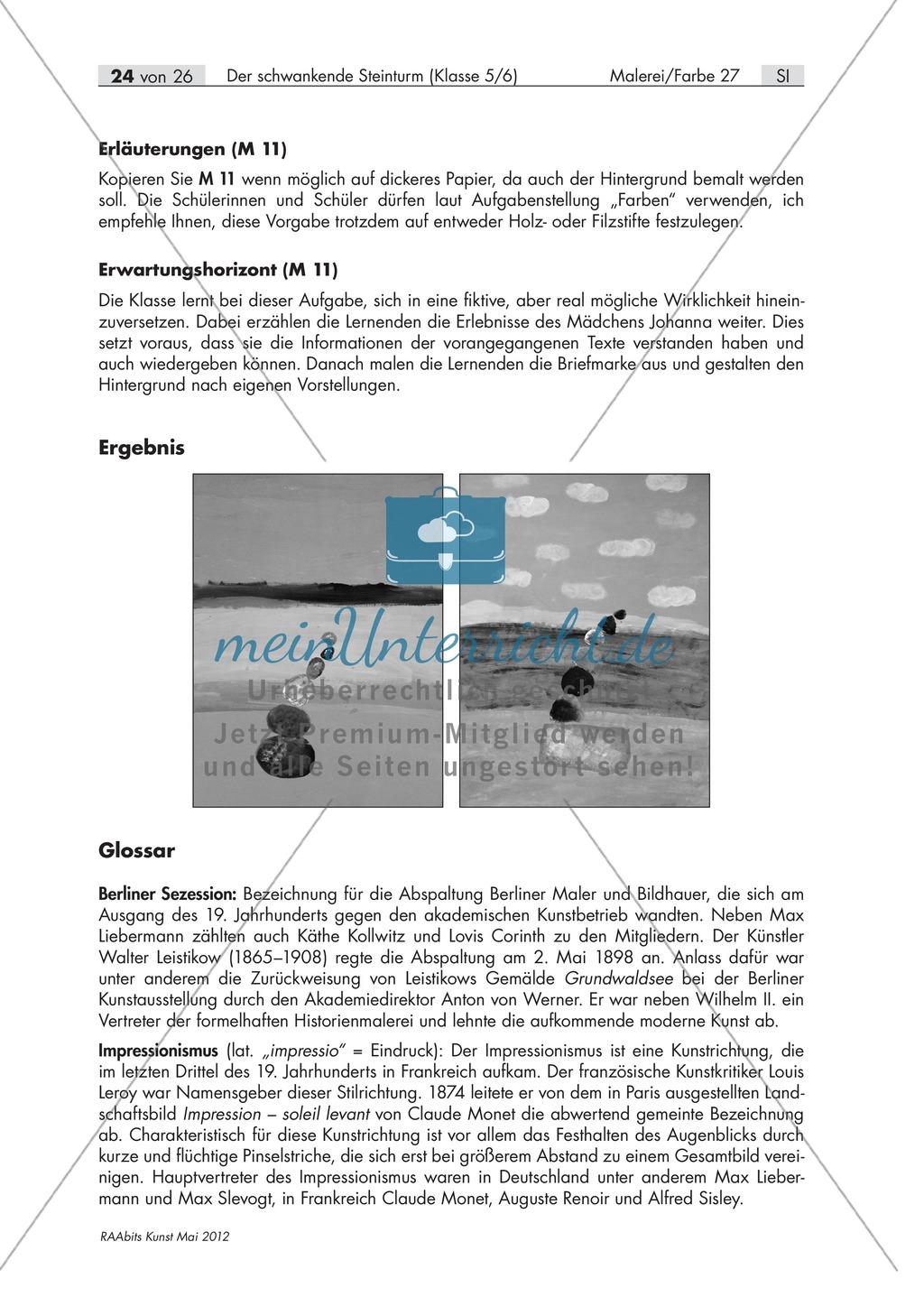 Unterrichtseinheit zum Thema Malerei und Farbe: Gestaltung einer Postkarte als Abschluss der Unterrichtsreihe. Preview 1