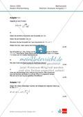 Abituraufgaben Baden-Württemberg 2009 - Mathematik Wahlteil I - 4 Aufgaben und deren Musterlösungen zum Thema Analysis. Preview 1