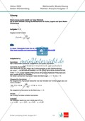 Abituraufgaben Baden-Württemberg 2009 - Mathematik Wahlteil I - 4 Aufgaben und deren Musterlösungen zum Thema Analysis. Preview 2