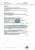 Abituraufgaben Baden-Württemberg 2011 - Mathematik Wahlteil III - 3 Aufgaben und deren Musterlösungen zum Thema Analysis. Preview 1