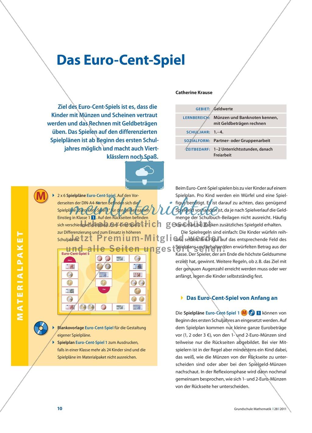 Das Euro-Cent-Spiel - Kinder werden mit Münzen und Scheinen vertraut ...