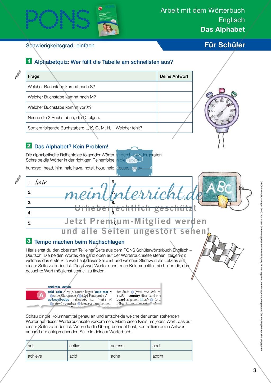 Arbeitsblätter Englisch Alphabet : Arbeit mit dem wörterbuch Übungen zum alphabet lösungen