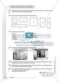 Geometrie - Hausaufgaben zum Umfang und Flächeninhalt von geometrischen Figuren mit Lösungen. Preview 2