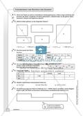 Geometrie - Hausaufgaben zum Umfang und Flächeninhalt von geometrischen Figuren mit Lösungen. Preview 4