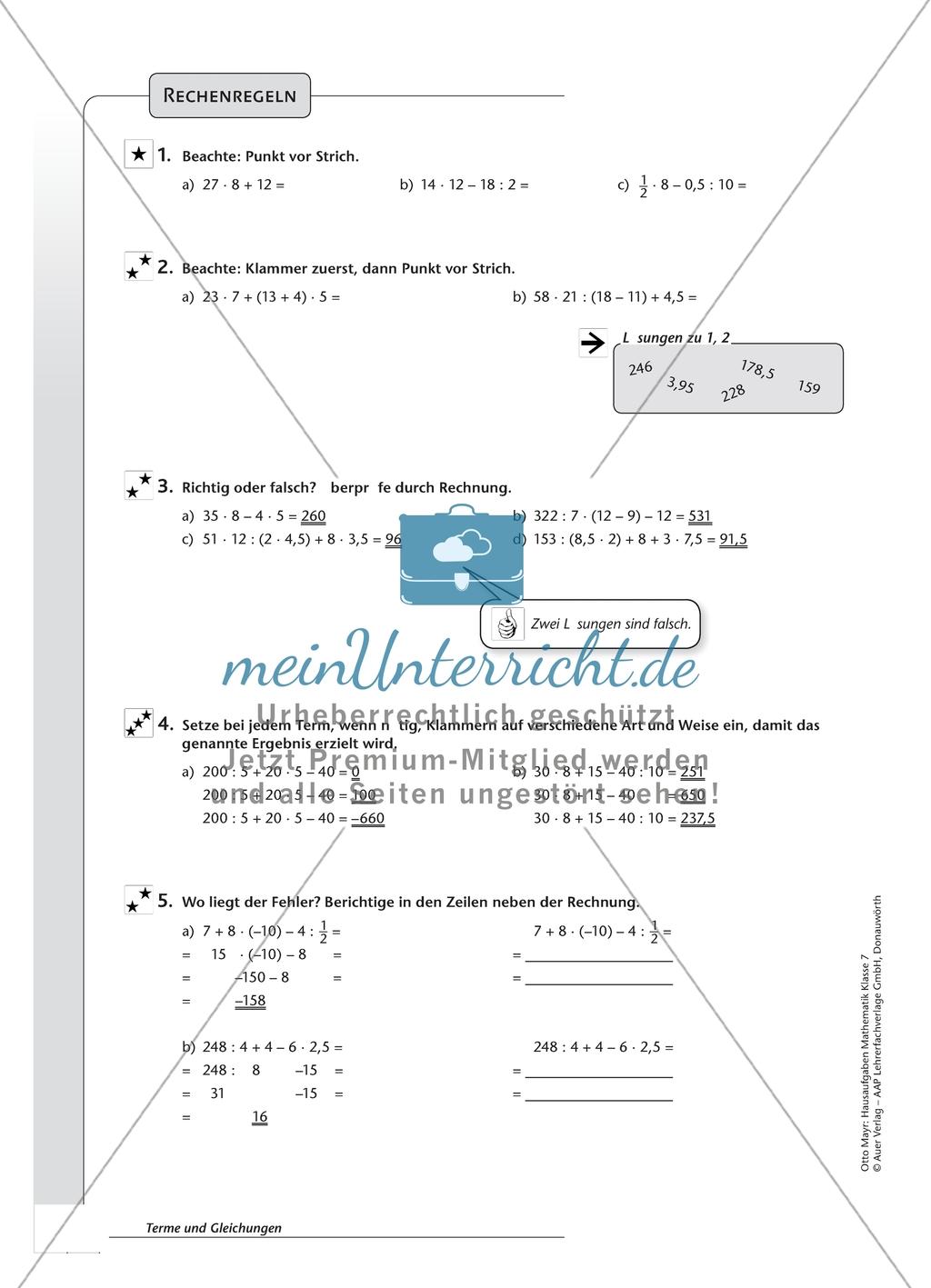 Hausaufgaben zum Berechnen von Termen und Lösen von Gleichungen mit ...