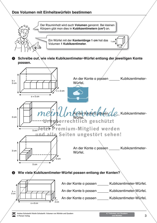 arbeitsbl tter zum thema volumen von w rfeln und quadern zur einf hrung f r sch lerinnen und. Black Bedroom Furniture Sets. Home Design Ideas
