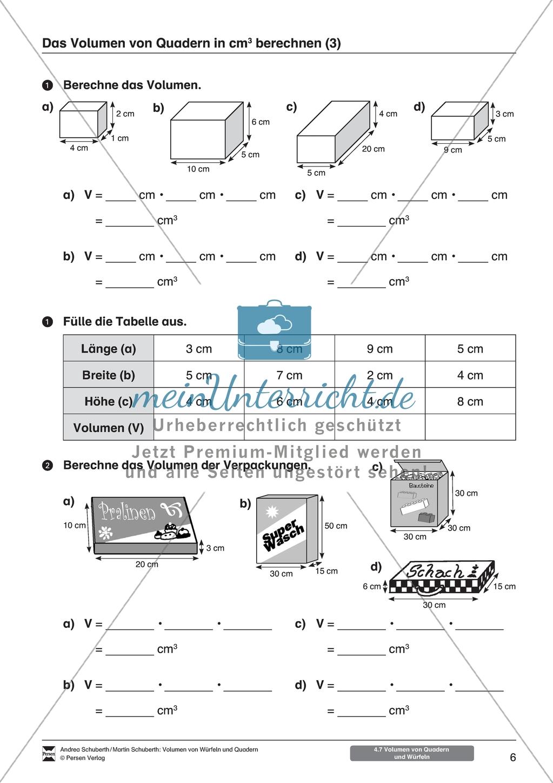 arbeitsbl tter zum thema volumen von w rfeln und quadern. Black Bedroom Furniture Sets. Home Design Ideas