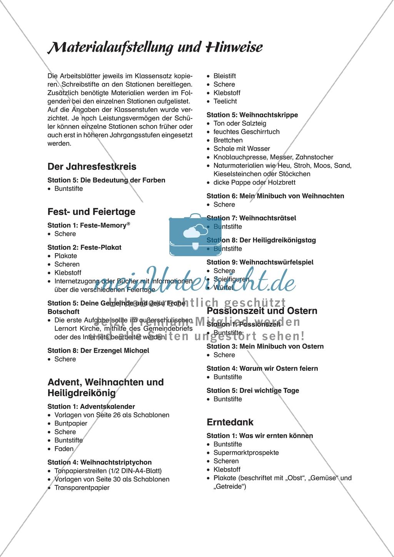 Stationenlernen: Das Kirchenjahr in der Evangelischen Religion - Passionszeit und Ostern + Lösungen Preview 0