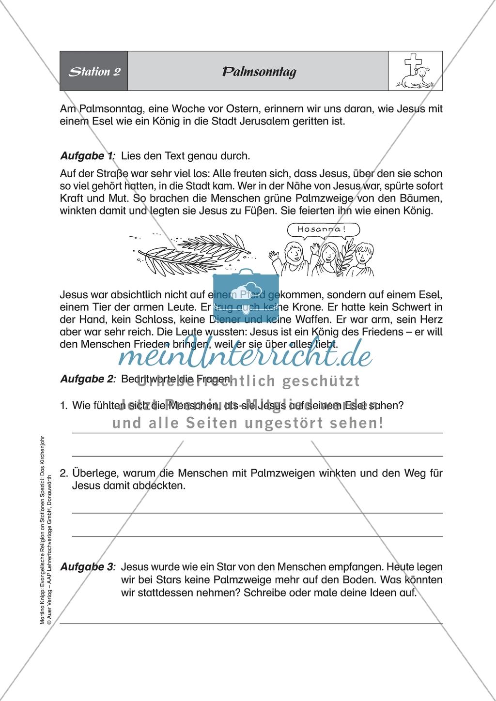 Stationenlernen: Das Kirchenjahr in der Evangelischen Religion - Passionszeit und Ostern + Lösungen Preview 2