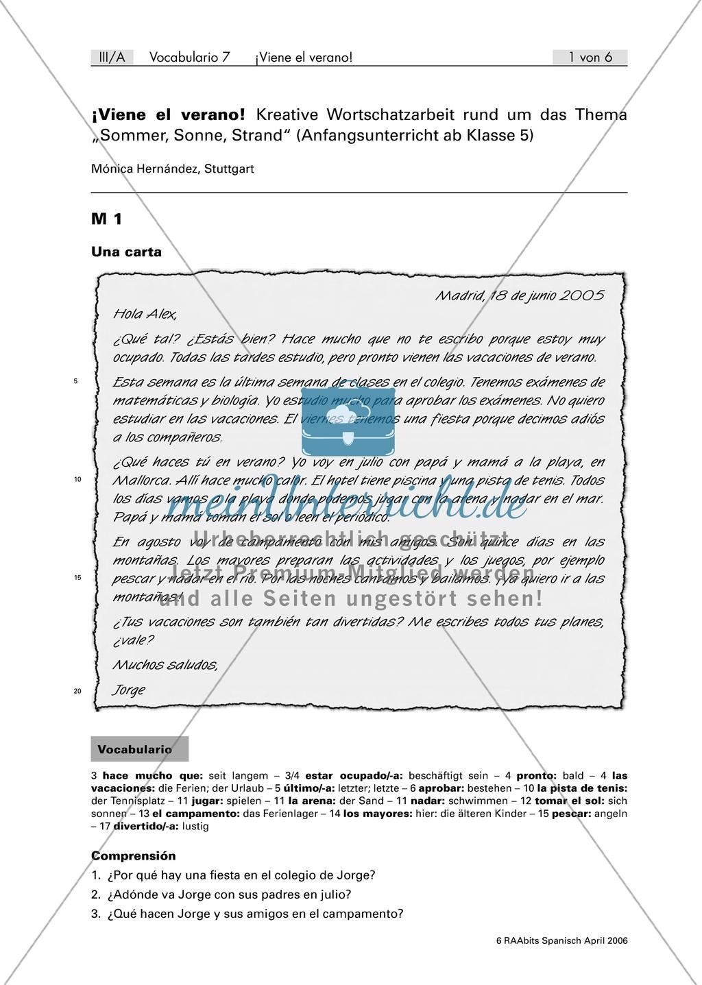 Viene el verano - persönlicher Brief über die Pläne in den Sommerferien mit Fragen zum Textverständnis Preview 0