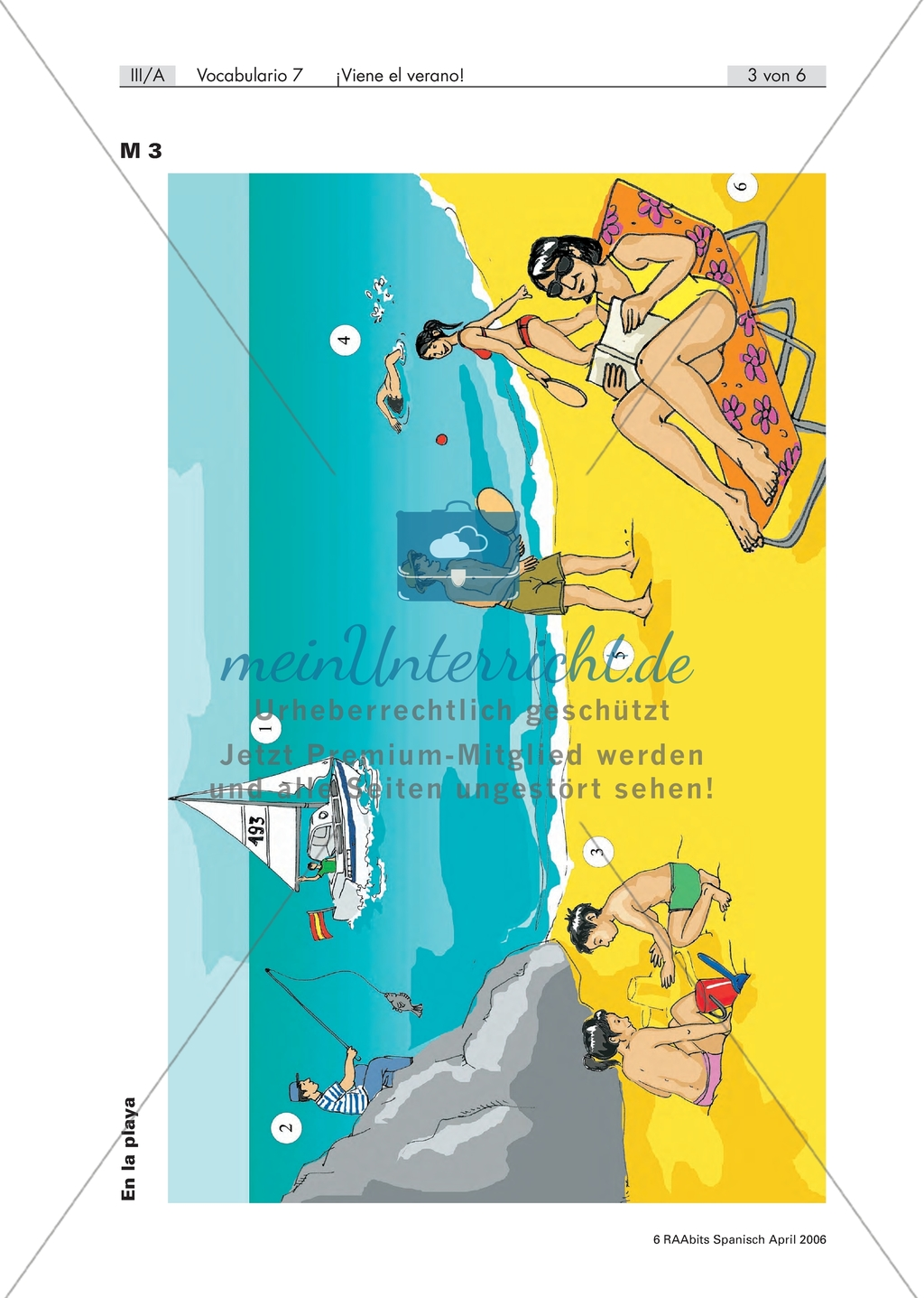 En la playa - verschiedene Situationen auf einem Bild von Personen am Strand beschreiben, mit Vokabelliste und Übungen Preview 1