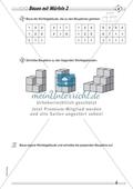 Geometrie: Geometrische Körper - Baupläne zu Würfelgebäuden in drei Schwierigkeitsstufen + Lösungen Preview 2