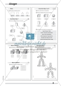 Geometrie: Geometrische Körper - Baupläne zu Würfelgebäuden in drei Schwierigkeitsstufen + Lösungen Preview 4