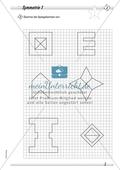 Symmetrie: Spiegelachsen in symmetrische Figuren einzeichnen und Spiegelbilder zeichnen. Mit Lösung. Preview 1