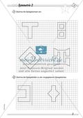 Symmetrie: Spiegelachsen in symmetrische Figuren einzeichnen und Spiegelbilder zeichnen. Mit Lösung. Preview 2