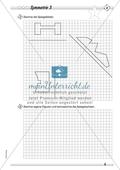 Symmetrie: Spiegelachsen in symmetrische Figuren einzeichnen und Spiegelbilder zeichnen. Mit Lösung. Preview 3
