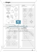 Symmetrie: Spiegelachsen in symmetrische Figuren einzeichnen und Spiegelbilder zeichnen. Mit Lösung. Preview 4