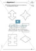 Symmetrie: Spiegelachsen durch Falten und mit dem Geodreieck ermitteln und Spiegelbilder zeichnen. Mit Lösung. Preview 1