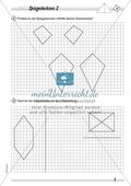 Symmetrie: Spiegelachsen durch Falten und mit dem Geodreieck ermitteln und Spiegelbilder zeichnen. Mit Lösung. Preview 2