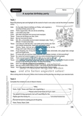 Text work: A surprise birthday party. Worksheet and solution Preview 1